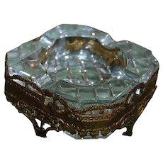 Mid Century Crystal and Ormolu Ashtray