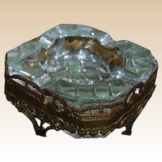 Mid Century Crystal and Ormolu Ashtray