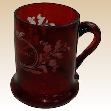 """From a Friend"" Etched Ruby Glass Handled Friendship Cup"