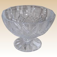 Vintage Pressed Crystal Glass Pedestal Compote Bowl