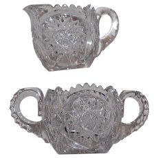 Libbey American Brilliant Cut Lead Crystal Creamer and Sugar