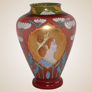 Edwardian Hand Blown and Enameled Frosted Glass Vase with Woman's Portrait