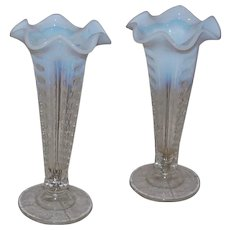 Pair of Fluted Trumpet Vases Clam Broth to Clear