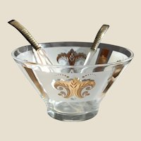 MCM Glass Salad Bowl with Servers