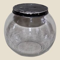 Round Glass Penny Candy or Cookie Jar w/top lid