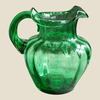 Hand Blown Green Glass Pitcher with Interior Fluting