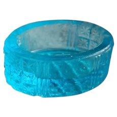 Sweet Blue Oval Pressed Glass Salt Cellar