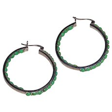 Gaspeite and Sterling Silver Hoops