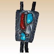 Vintage Signed Nastacio Navajo Bolo Tie
