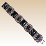 TAXCO Mexican 925 Silver and Carved Onyx Bracelet Mayan Style