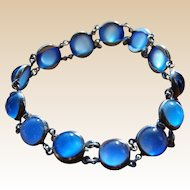 Sapphire Blue Satin Glass and Silver Bracelet Small Size