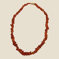 Vintage Natural Amber Small Graduated Chunk Necklace