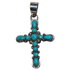 Vintage Sterling and Turquoise Crucifix Cross Pendant