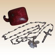 Sterling Silver Rosary Beads with Extra 4 Religious Charms and Case c.1926