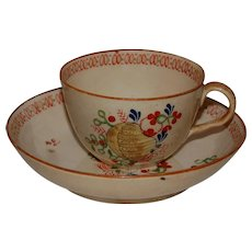 Early Primitive Hand Painted Teacup and Saucer