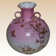 Oriental Moriage Vase with Handles Blushing Pink marked