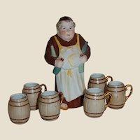 Friar Decanter German Porcelain with Shot Barrel Mugs