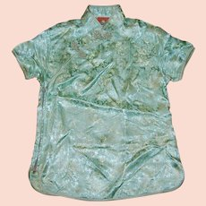 Mandarin Style Chinese Green Dragon Brocade Collared Shirt Blouse