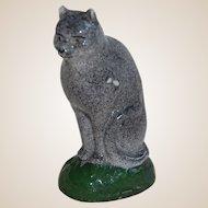 Primitive Small Grey Cat Figurine