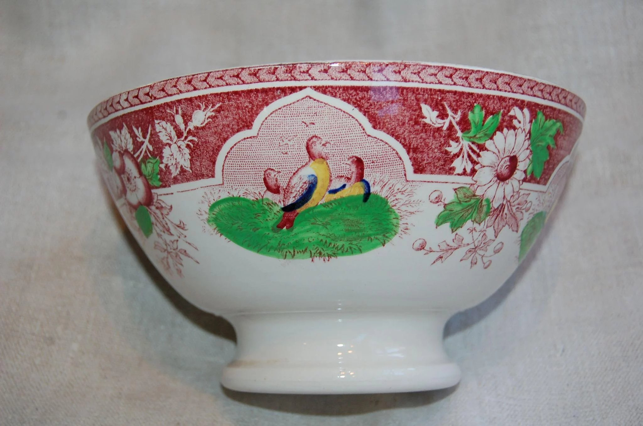 Red Transferware Quail Bowl Pv Portieux Large Starr Hill
