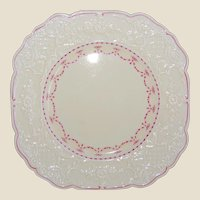 4 Wedgwood Dinner Plates Yellow with Pink Garland Ribbons