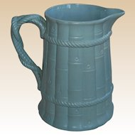 Blue Drabware Pitcher Bamboo and Rope
