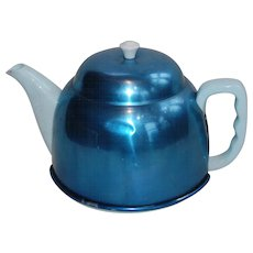 Blue Teapot with Insulated Aluminum Cozy