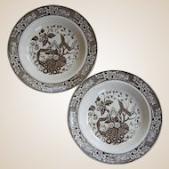 Two Wedgwood 'Beatrice' Brown Transferware Soup Plates  c.1880's