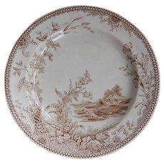 Antique Brown Transferware Plate Edge Malkin Lisbon Pattern