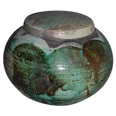 Vintage Stoneware Covered Globe Urn Jar