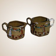 Deldare Ware Creamer and Sugar Buffalo Pottery Scenes of Village Life