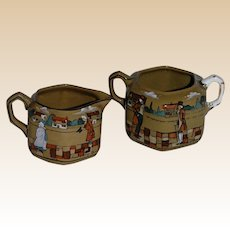 Deldare Ware Creamer and Sugar Buffalo Pottery Scenes of Village Life