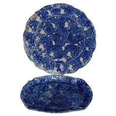 2 Blue Spongeware 1800's Plates