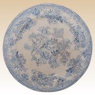 2 Pale Blue Floral Transferware Plates 1800's