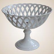 Elegant Antique Reticulated Table Basket on Pedestal