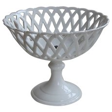 Elegant Antique Reticulated Table Basket on Pedestal