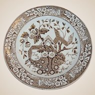 Antique Wedgwood Brown Transferware Plate Beatrice Pattern