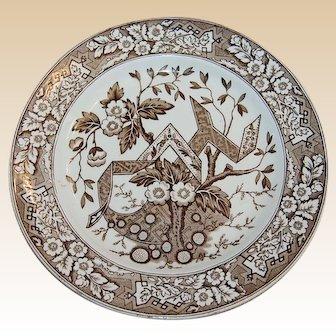 Antique Wedgwood Brown Transferware Plate Beatrice Pattern