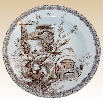 Antique Brown Transferware Soup PlateThe World Pattern Wallace Gimson & Co.