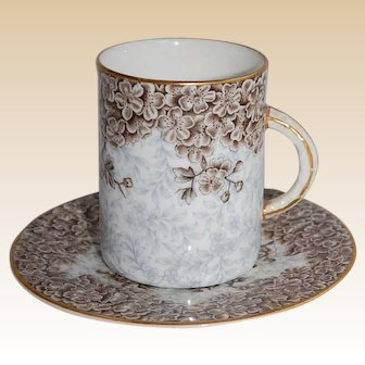 Royal Worcester Transferware Petite Chocolate or Coffee Cup and Saucer