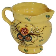 Vintage Italian Majolica Yellow Pitcher or Creamer