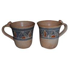 Signed Contemporary Stoneware Mugs from Art School