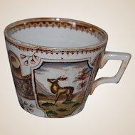 Antique STAG Polychrome Transferware Cup
