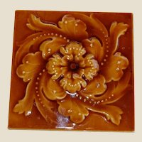 "Lovely 6"" Majolica English Tile"