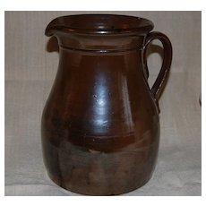 Gorgeous Antique Brown Slip Stoneware Pitcher