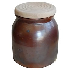 Old Stoneware Crock with Wooden Hand Turned Top