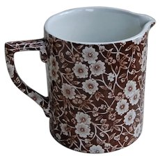 Crownford China Calico Measuring Cup Brown Transferware