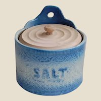 Blue and White Stoneware Hanging Salt Crock
