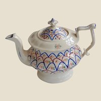 Luster and Blue Squiggles! 19th C Teapot
