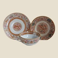 Medieval Motif Polychrome Aesthetic Era Teacup, Saucer and Biscuit Plate